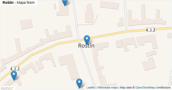 Roštín - mapa rozložení firem v obci.