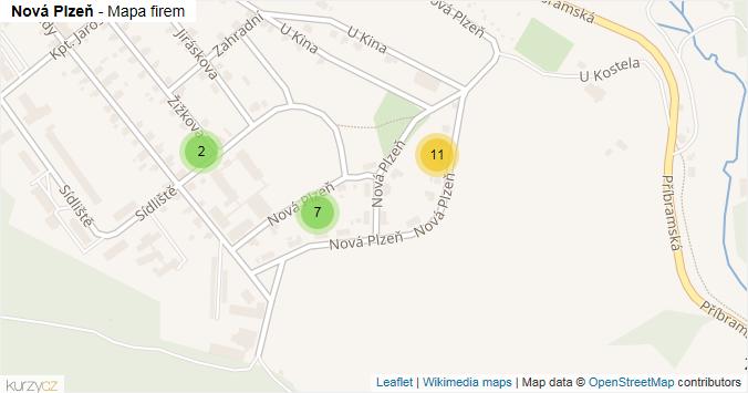 Nová Plzeň - mapa rozložení firem v ulici.