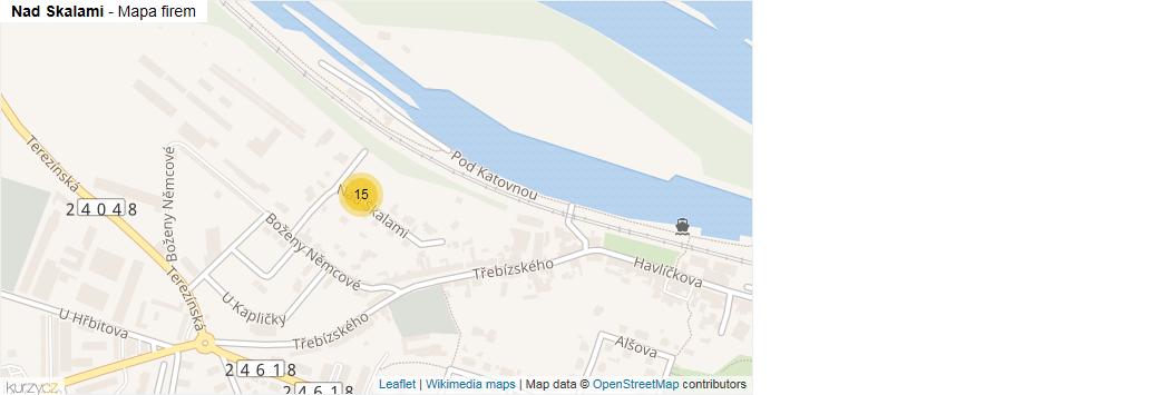 Nad Skalami - mapa rozložení firem v ulici.