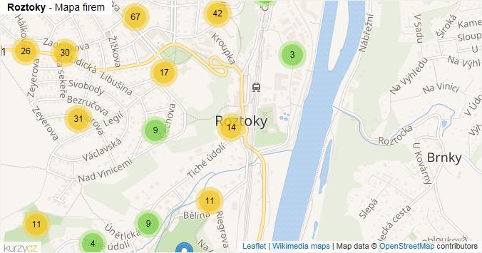 Roztoky - mapa rozložení firem v obci.
