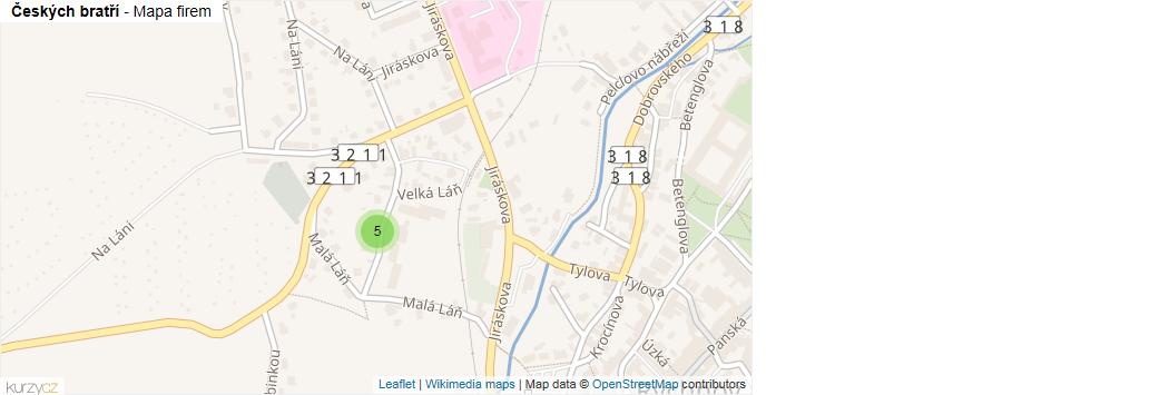 Českých bratří - mapa rozložení firem v ulici.
