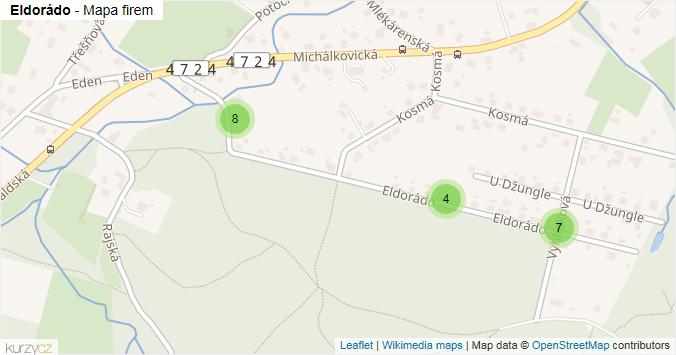 Eldorádo - mapa rozložení firem v ulici.