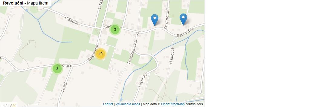 Revoluční - mapa rozložení firem v ulici.