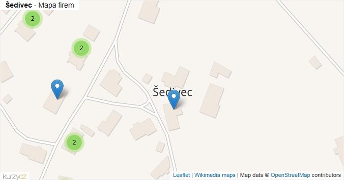 Šedivec - mapa rozložení firem v obci.
