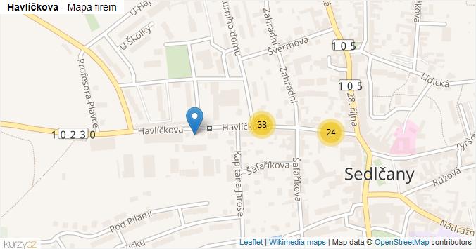 Havlíčkova - mapa rozložení firem v ulici.