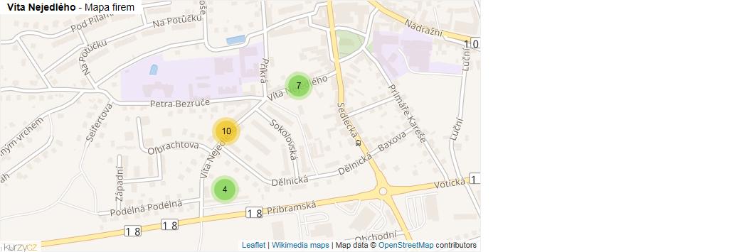 Víta Nejedlého - mapa rozložení firem v ulici.