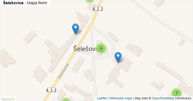 Šelešovice - mapa rozložení firem v obci.