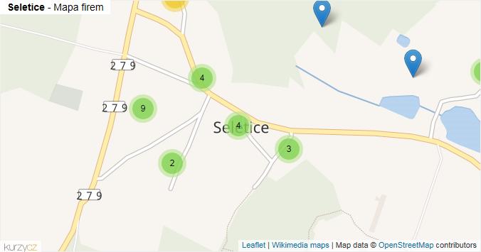 Seletice - mapa rozložení firem v části obce.