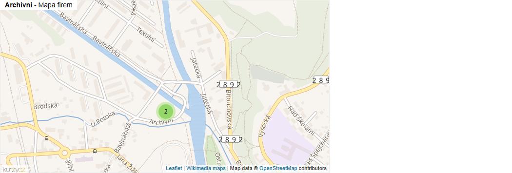 Archivní - mapa rozložení firem v ulici.