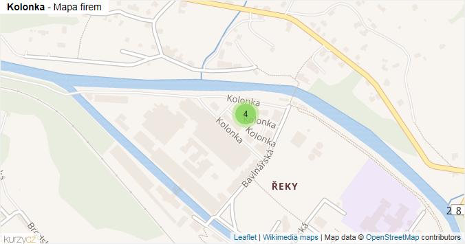 Kolonka - mapa rozložení firem v ulici.