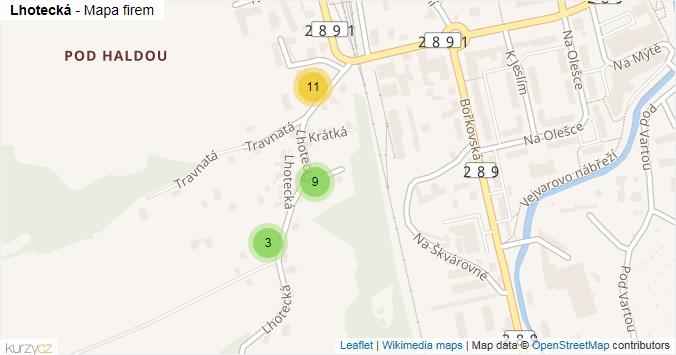 Lhotecká - mapa rozložení firem v ulici.