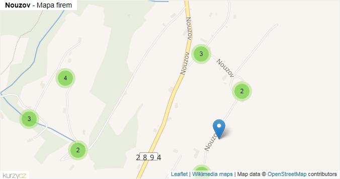 Nouzov - mapa rozložení firem v ulici.
