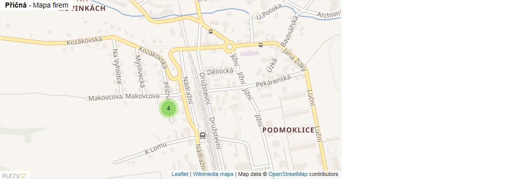 Příčná - mapa rozložení firem v ulici.