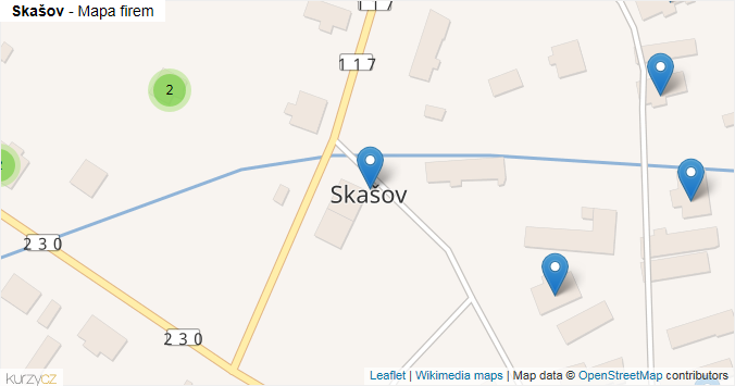 Skašov - mapa rozložení firem v obci.