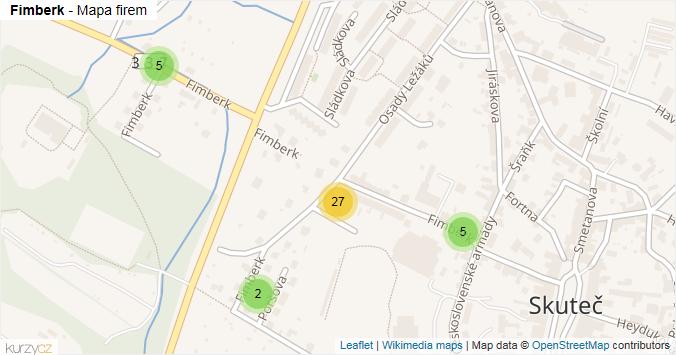 Fimberk - mapa rozložení firem v ulici.