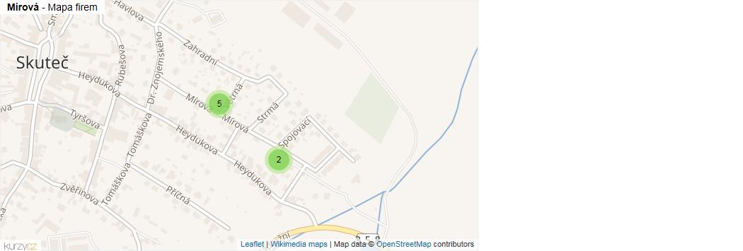 Mírová - mapa rozložení firem v ulici.