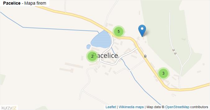 Pacelice - mapa rozložení firem v části obce.