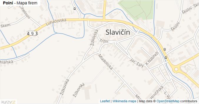 Polní - mapa rozložení firem v ulici.