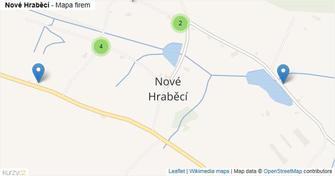 Nové Hraběcí - mapa rozložení firem v části obce.