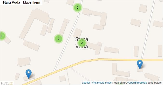 Stará Voda - mapa rozložení firem v obci.