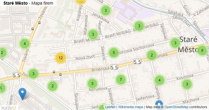 Staré Město - mapa rozložení firem v části obce.