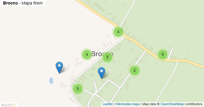 Brocno - mapa rozložení firem v části obce.