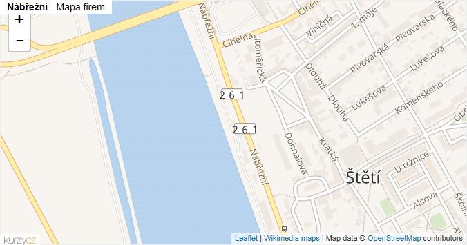 Nábřežní - mapa rozložení firem v ulici.