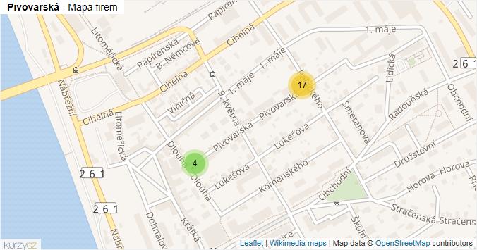Pivovarská - mapa rozložení firem v ulici.