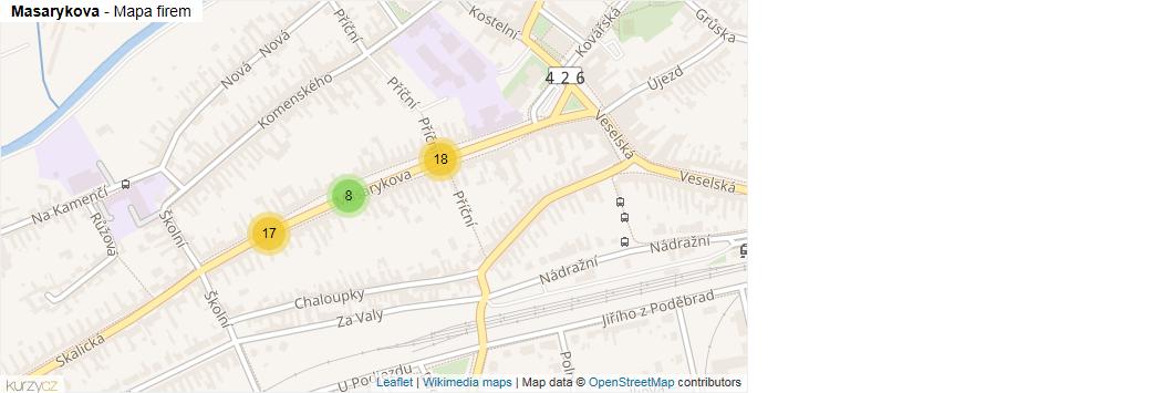Masarykova - mapa rozložení firem v ulici.