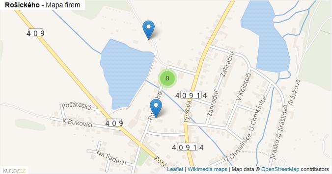 Rošického - mapa rozložení firem v ulici.