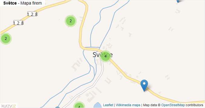 Světce - mapa rozložení firem v části obce.