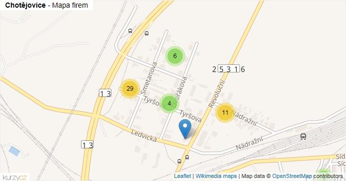 Chotějovice - mapa rozložení firem v části obce.