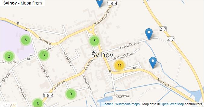 Švihov - mapa rozložení firem v obci.