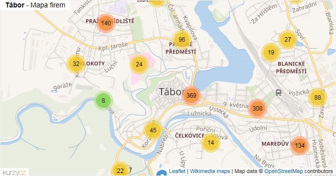 Tábor - mapa rozložení firem v obci.