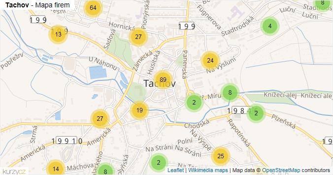 Tachov - mapa rozložení firem v obci.