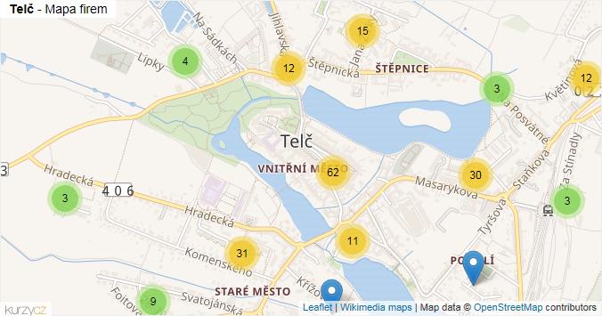 Telč - mapa rozložení firem v obci.