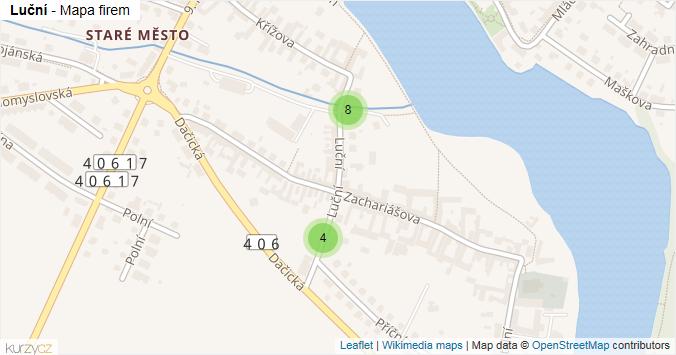 Luční - mapa rozložení firem v ulici.