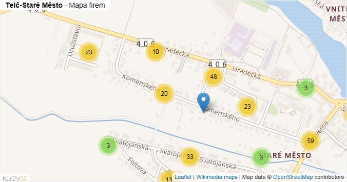 Telč-Staré Město - mapa rozložení firem v části obce.
