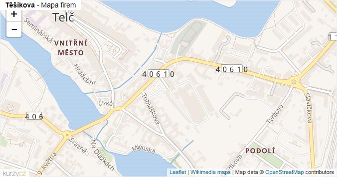 Těšíkova - mapa rozložení firem v ulici.