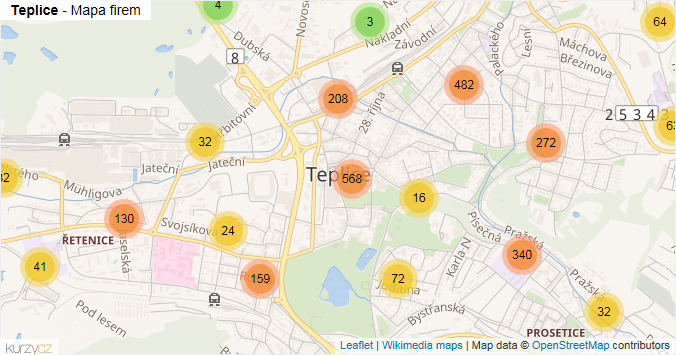 Teplice - mapa rozložení firem v obci.