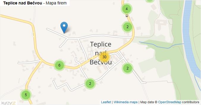 Teplice nad Bečvou - mapa rozložení firem v části obce.