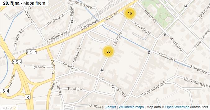 28. října - mapa rozložení firem v ulici.