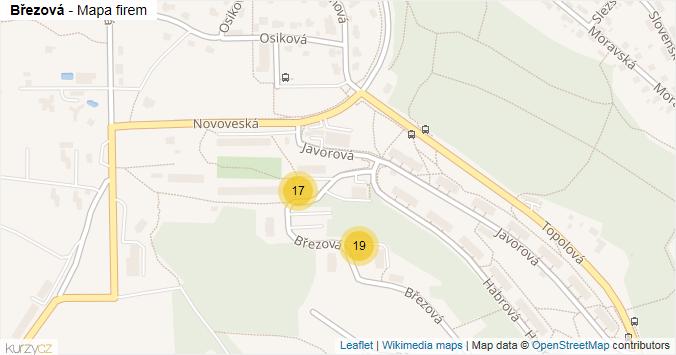 Březová - mapa rozložení firem v ulici.