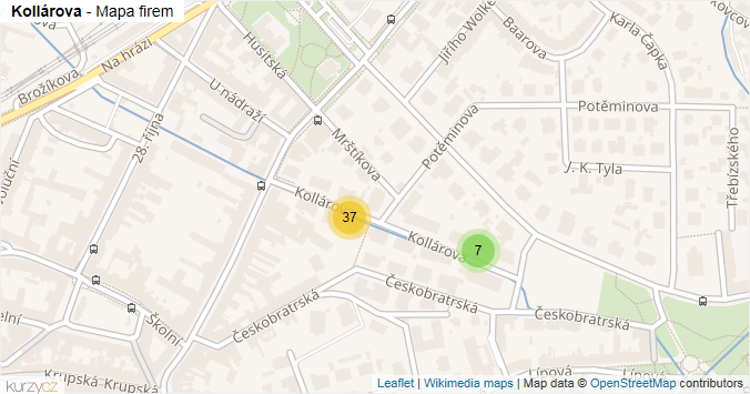 Kollárova - mapa rozložení firem v ulici.