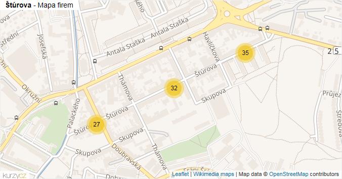 Štúrova - mapa rozložení firem v ulici.