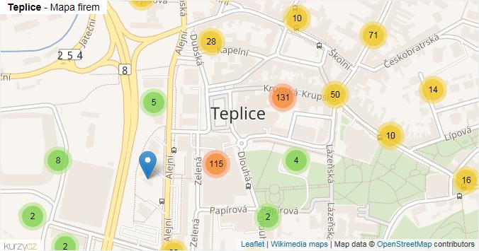 Teplice - mapa rozložení firem v části obce.