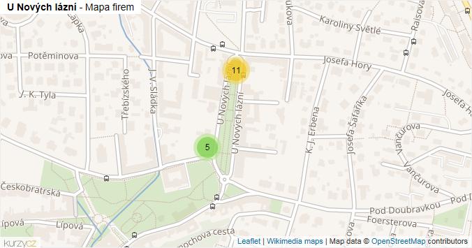 U Nových lázní - mapa rozložení firem v ulici.