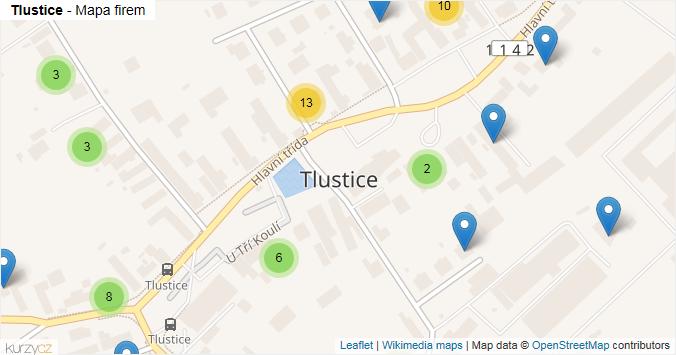 Tlustice - mapa rozložení firem v obci.