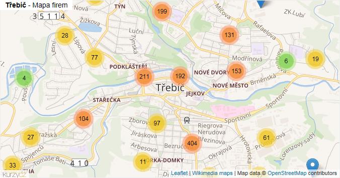 Třebíč - mapa rozložení firem v obci.