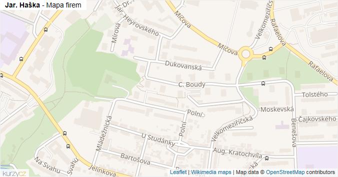Jar. Haška - mapa rozložení firem v ulici.